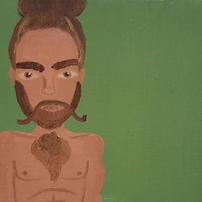 """Zach Flume With His Manbun and Beard."" Oil on canvas. 2017. 8""x10"""