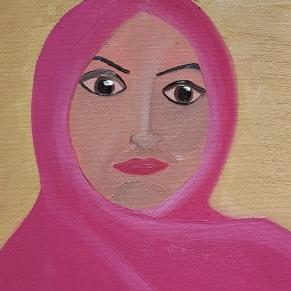"""Woman with a Pink Hijab."" Oil on canvas panel. 2017. 8""x10""."