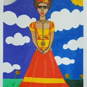 """""""Frida En La Dia y Noche."""" 2017. Colored Pencil on Colored Pencil paper. 9""""x12"""""""