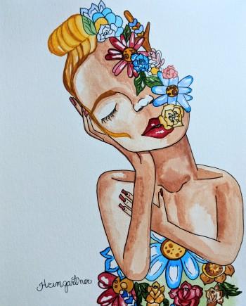 """Bella Flor."" Watercolor on paper. 10"" x8"". 2018"