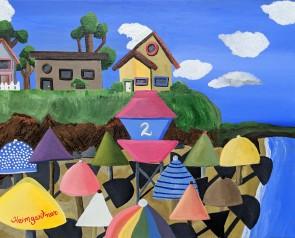 """""""Umbrellas on The Beach."""" Acrylic on canvas. 16"""" x 20"""". 2019."""