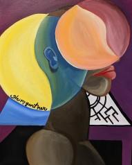 """Emotional."" Acrylic on canvas. 20"" x 16"". 2019."