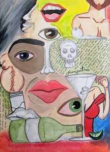 """""""Just One Drink."""" Mixed Media. 14""""x11"""". 2019."""