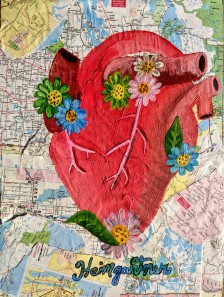 """Wanderlust."" Acrylic on collaged maps on wood panel. 14"" x 11"". 2020."